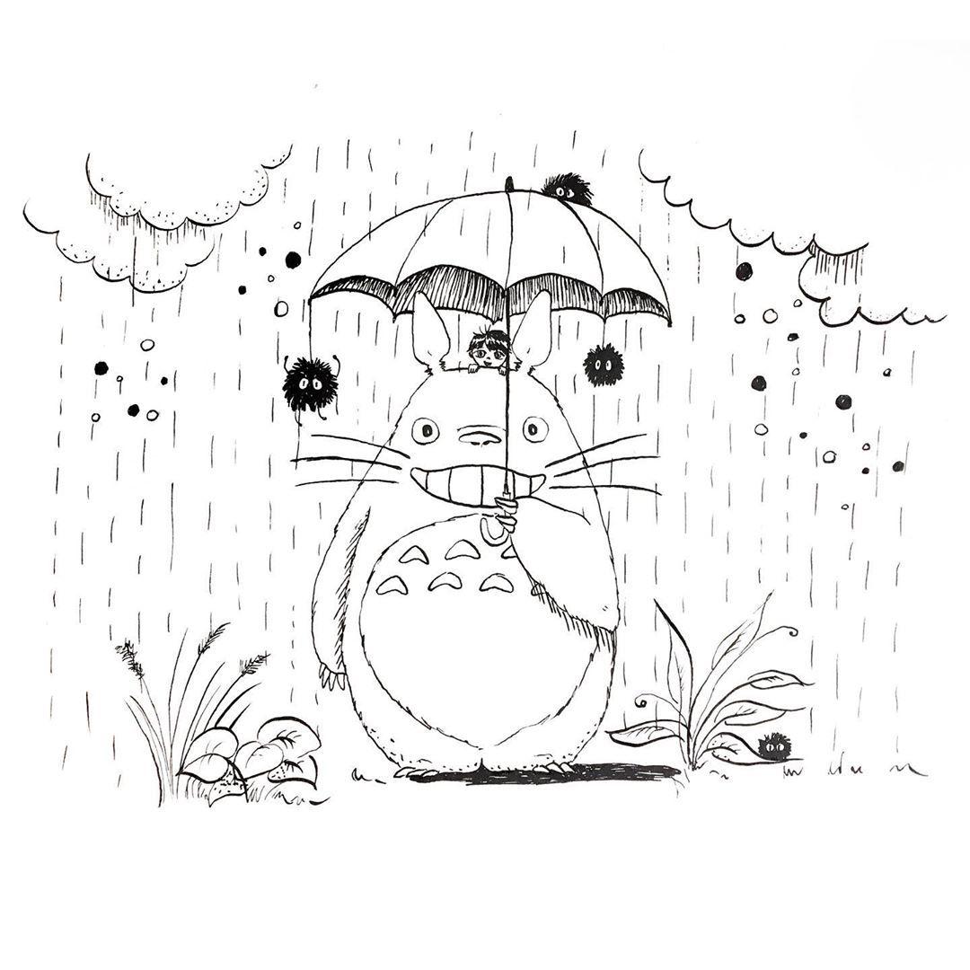 I Ll Be There For You When The Rain Starts To Pour Tadam Dzis Zabieram Was Do Krainy W Ktorej Spotkacie Totoro Totoro Desenhos Ideias Para Desenho [ 1080 x 1080 Pixel ]
