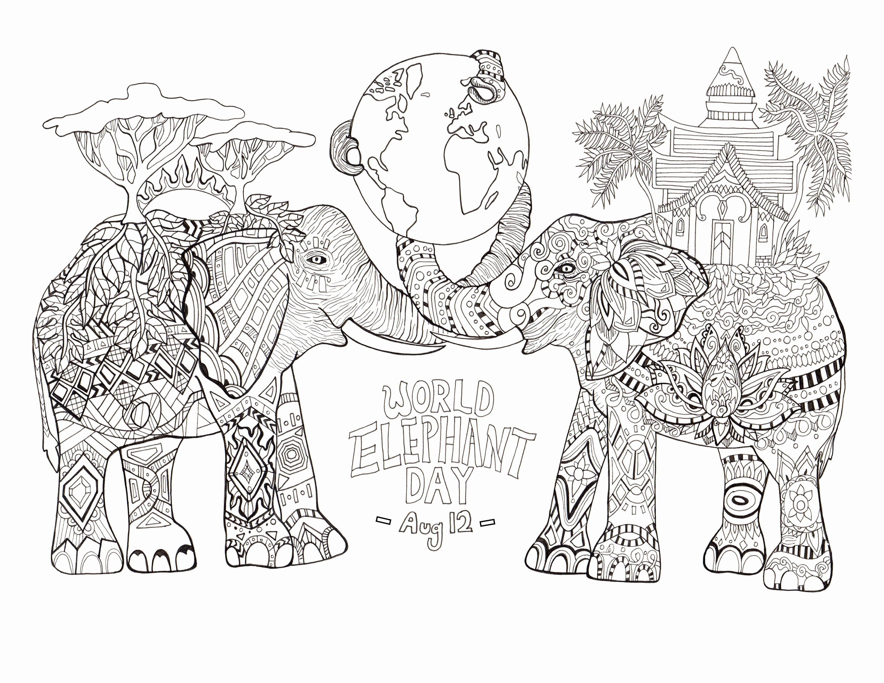 Animal Coloring Pages For Adults Pdf Unique Fresh World Elephant Day Elephants Coloring Pag Elephant Coloring Page Bear Coloring Pages Superhero Coloring Pages