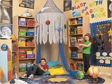 Space reading corner classroom decorating ideas for Space themed book corner