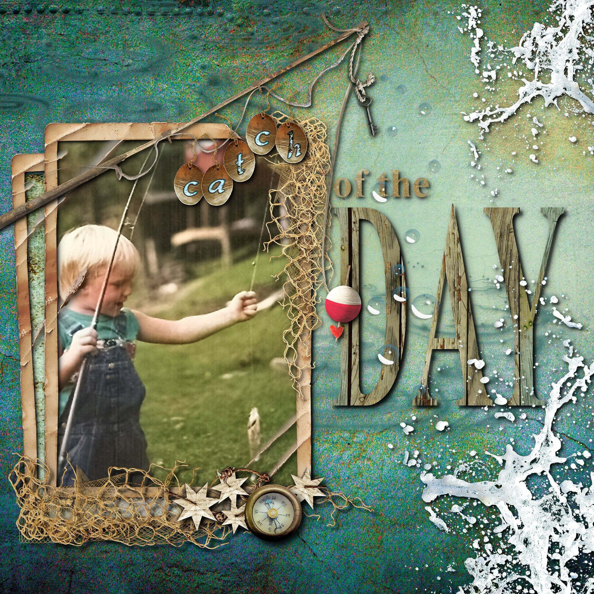 Scrapbook ideas about yourself - Catch Of The Day Scrapbook Com But I Like The Textures And Layers