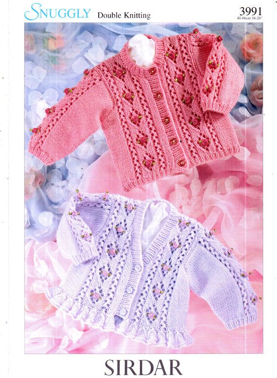 2ef9e762d Sirdar 3991 Baby Lace  Roses  Frilly Cardigan Knitting Pattern ...