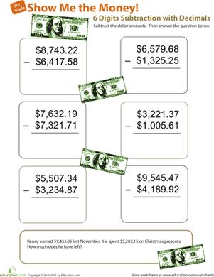 Show Me the Money! Six-Digit Subtraction with Decimals   Money ...