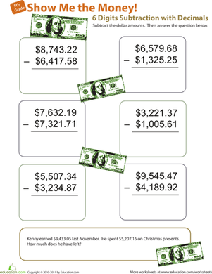 Show Me the Money! Six-Digit Subtraction with Decimals | Things to ...
