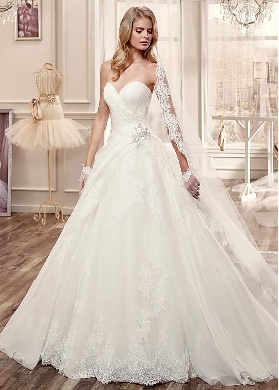 Marvelous Organza & Tulle Sweetheart Neckline Ball Gown Wedding Dresses with Beaded Lace Appliques