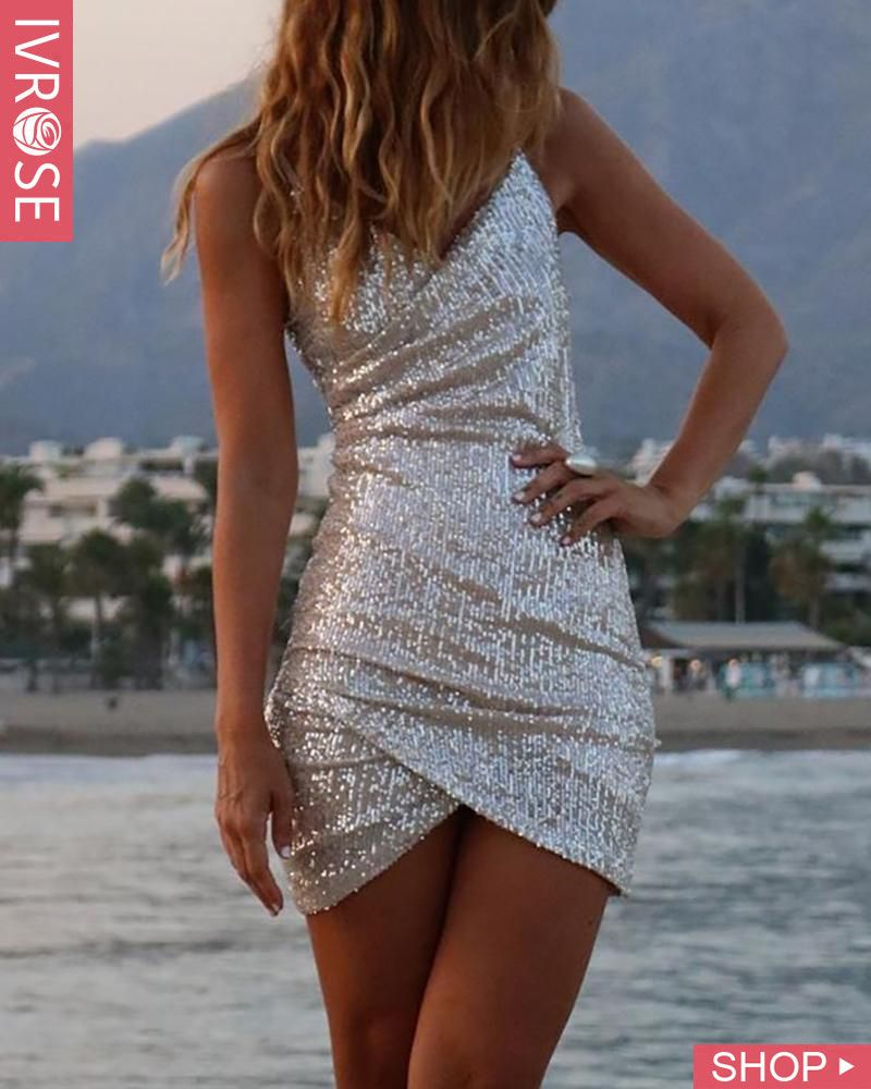 Sequins Spaghetti Strap Ruched Backless Dress #shortbacklessdress