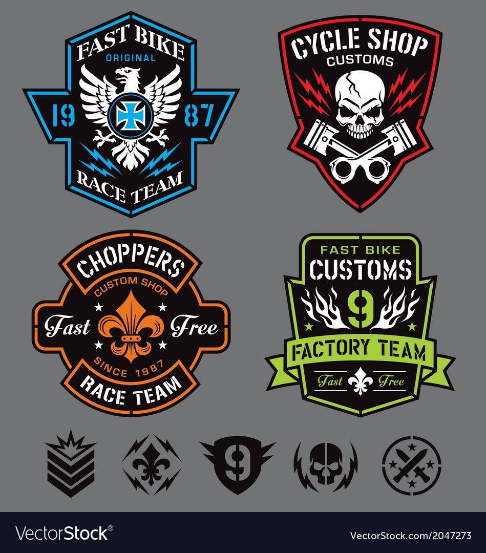 Motorcycle patches Royalty Free Vector Image VectorStock