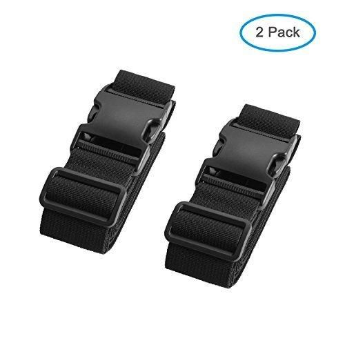 Luxebell Luggage Straps Suitcase Belt Add-A-Bag Travel Accessories Heavy Duty Strap 2-Pack (6.56ft Black)