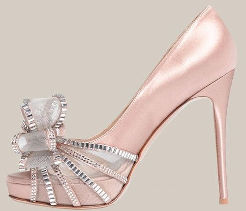 ♥pink♥silver♥Chantelle♥ / Valentino Crystal Bow Satin Pump ♥♥♥