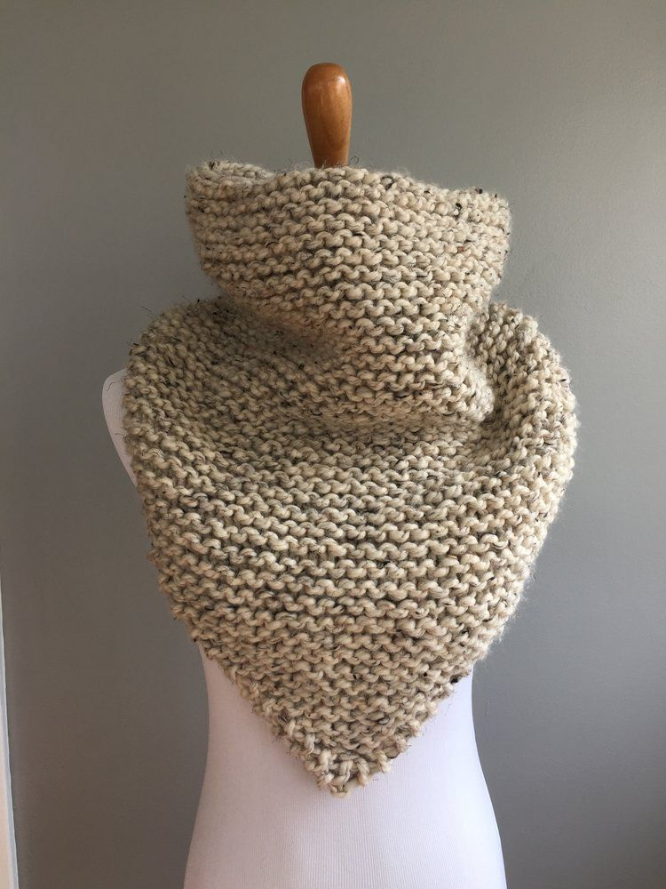 Garter Stitch Oversized Bandana Cowl Pattern Knit Pinterest