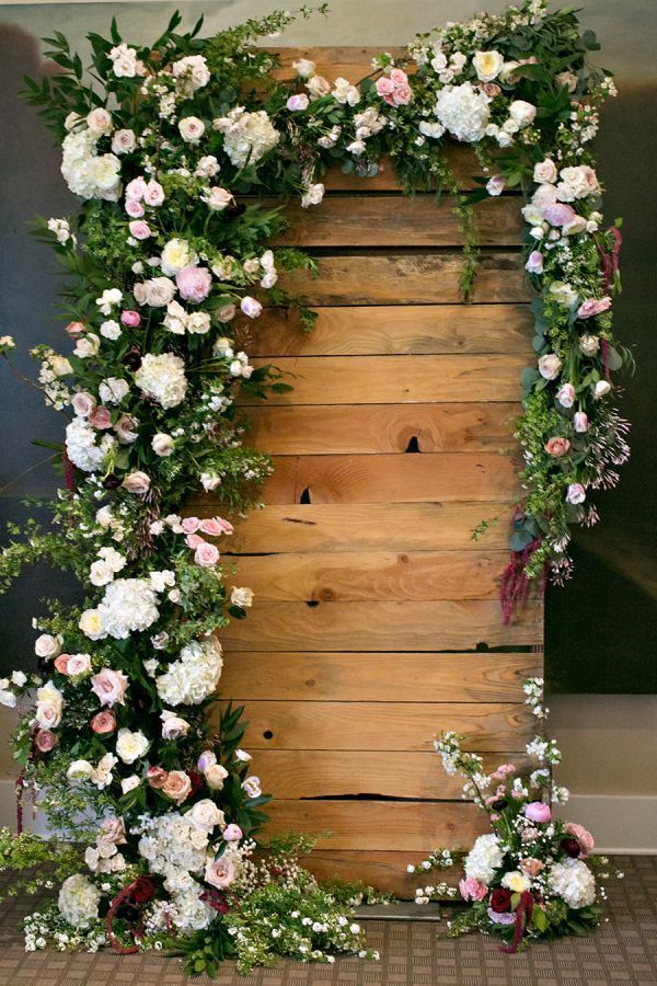 GoEoo Blooming Flowers Wall Backdrop 7X5FT Vinyl Fresh Floral Wall Backdrops Wood Fence Spring Wedding Photography Background for Girls Valentines Day Bridal Shower Photo Studio Props