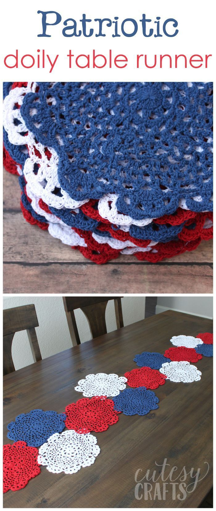 4th of July Craft - Doily Table Runner | Caminos de mesa, Caminos y ...