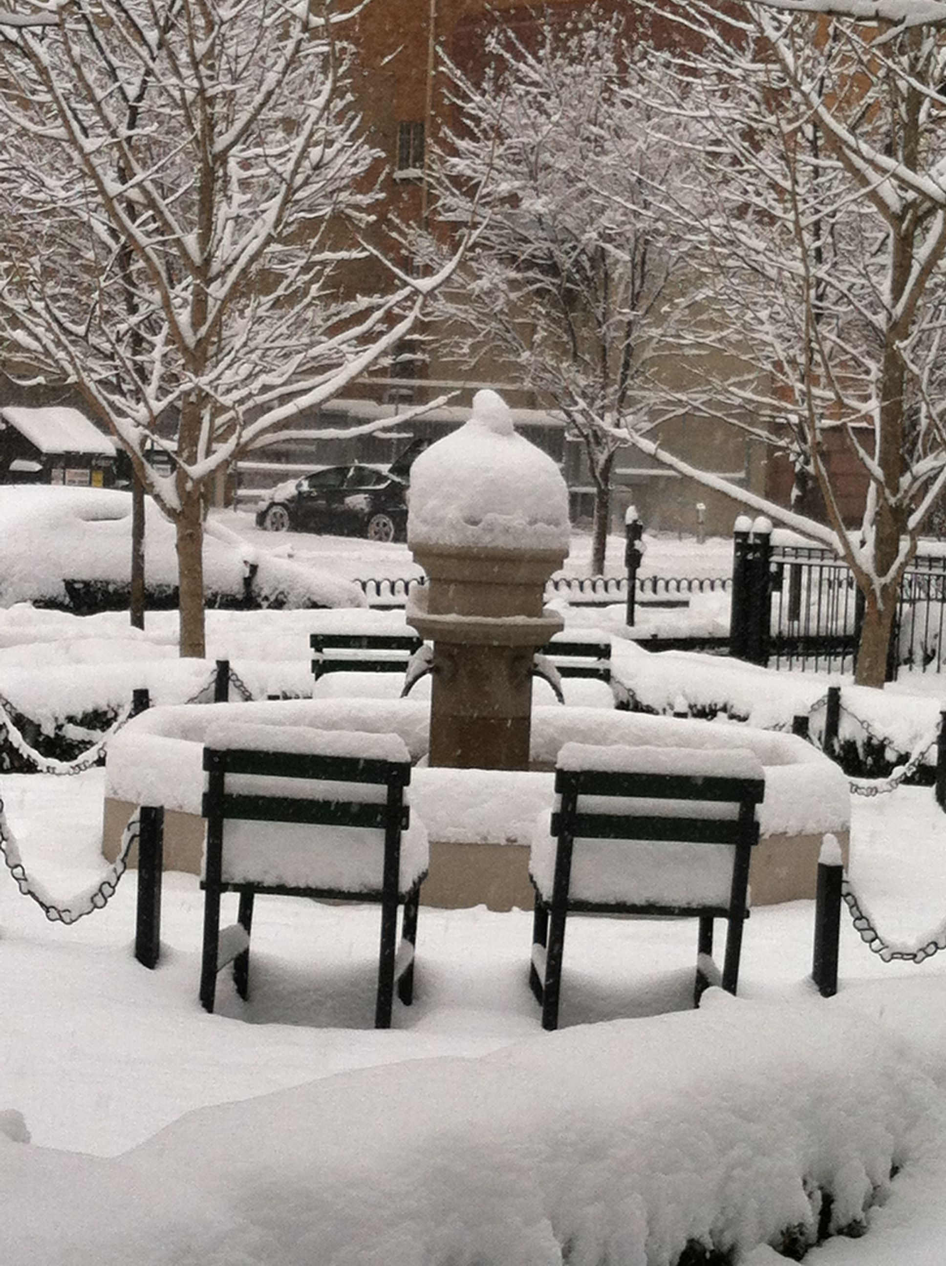 The courtyard at the park building after a snowfall