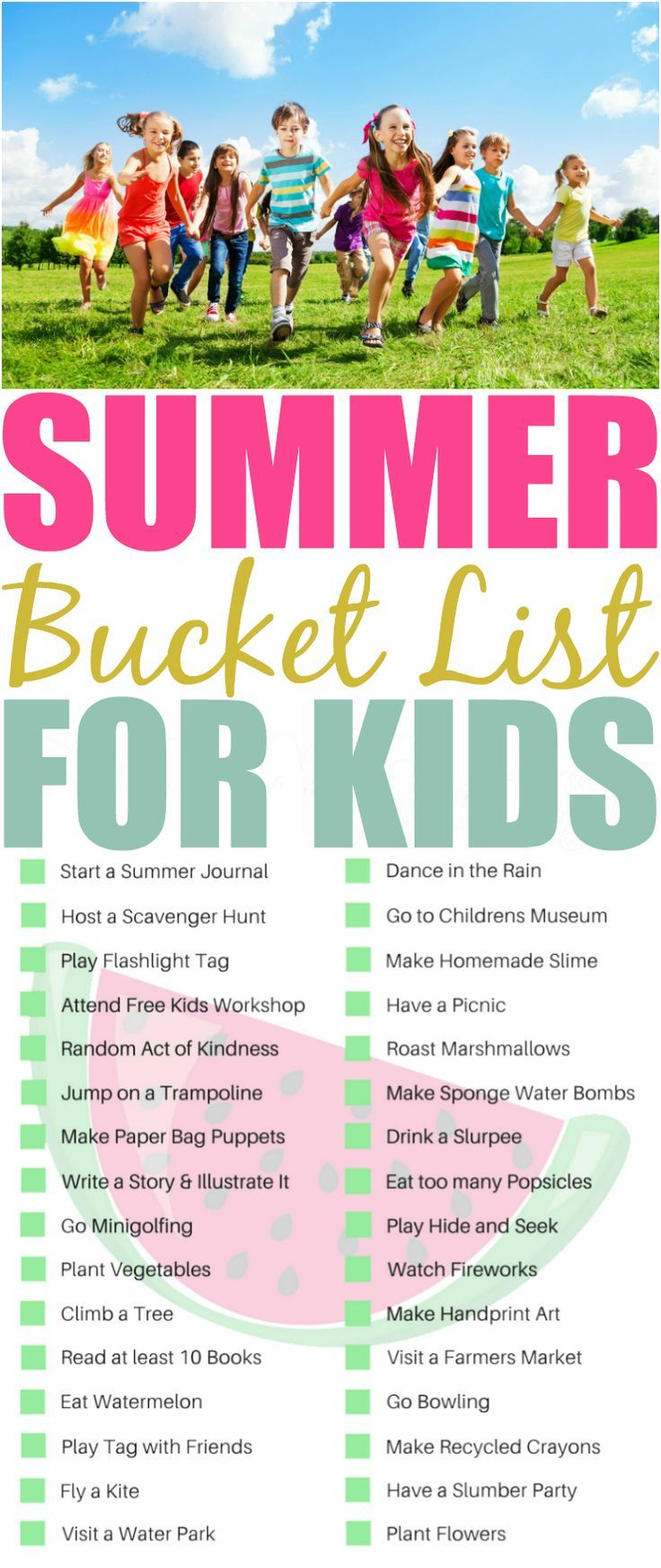 Download this FREE printable kids summer bucket list now! With 32 ideas they will have fun like we did when we were kids, not glued to electronics all day.