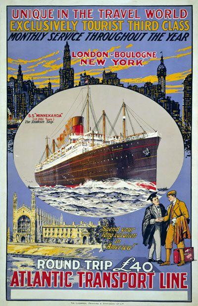 A3 A2 American LineNew York To SouthamptonVintage Travel PosterA1