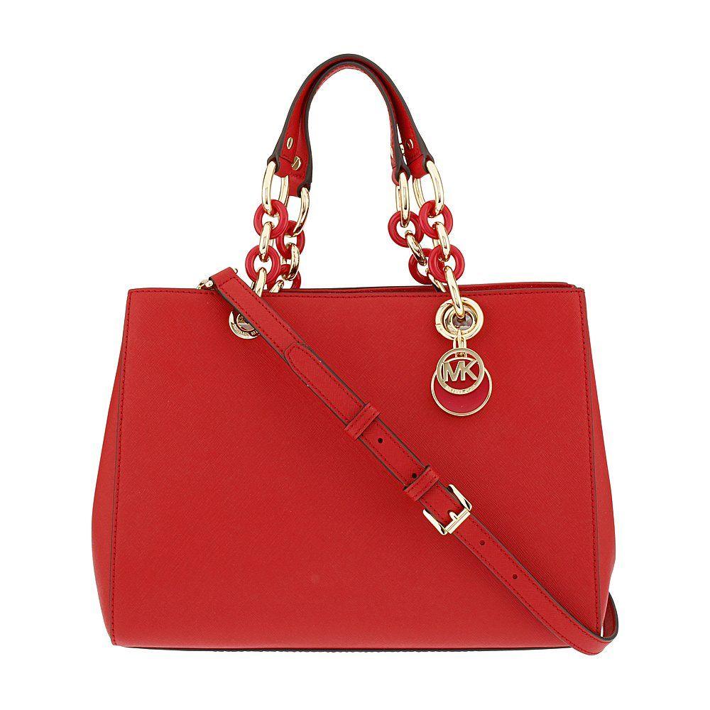 Michael kors cynthia ladies medium leather satchel handbag