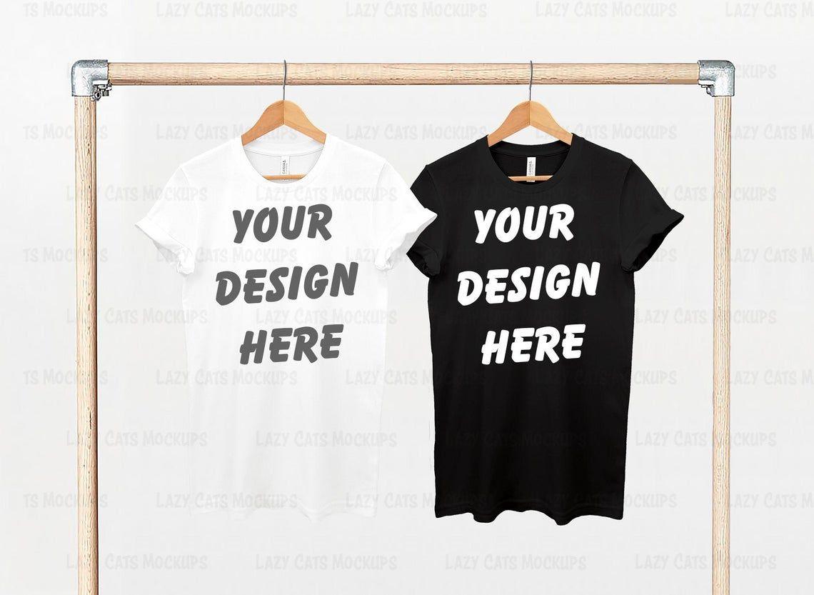 Download White Black Bella Canvas 3001 Mock Up With Hanger Bella Etsy Shirt Mockup White And Black Clothing Mockup