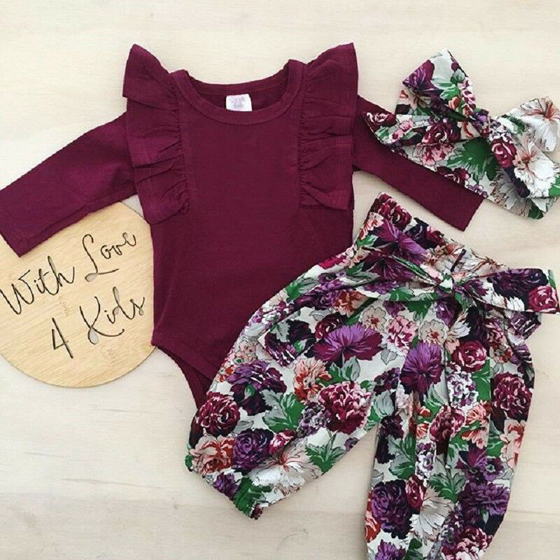 UK Newborn Infant Baby Girl Floral Outfit Clothes Romper Tops+Pants+Headband Set