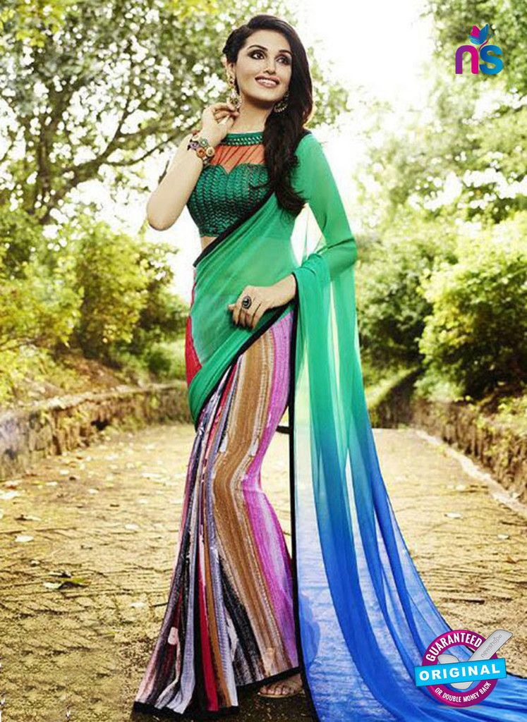NS 12355 Sea Green and Multicolor Floral Printed Georgette Saree