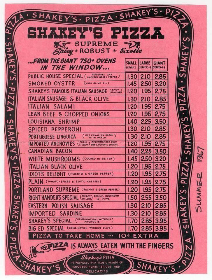 Old Shakey's Pizza Menu Vintage menu, Shakeys pizza