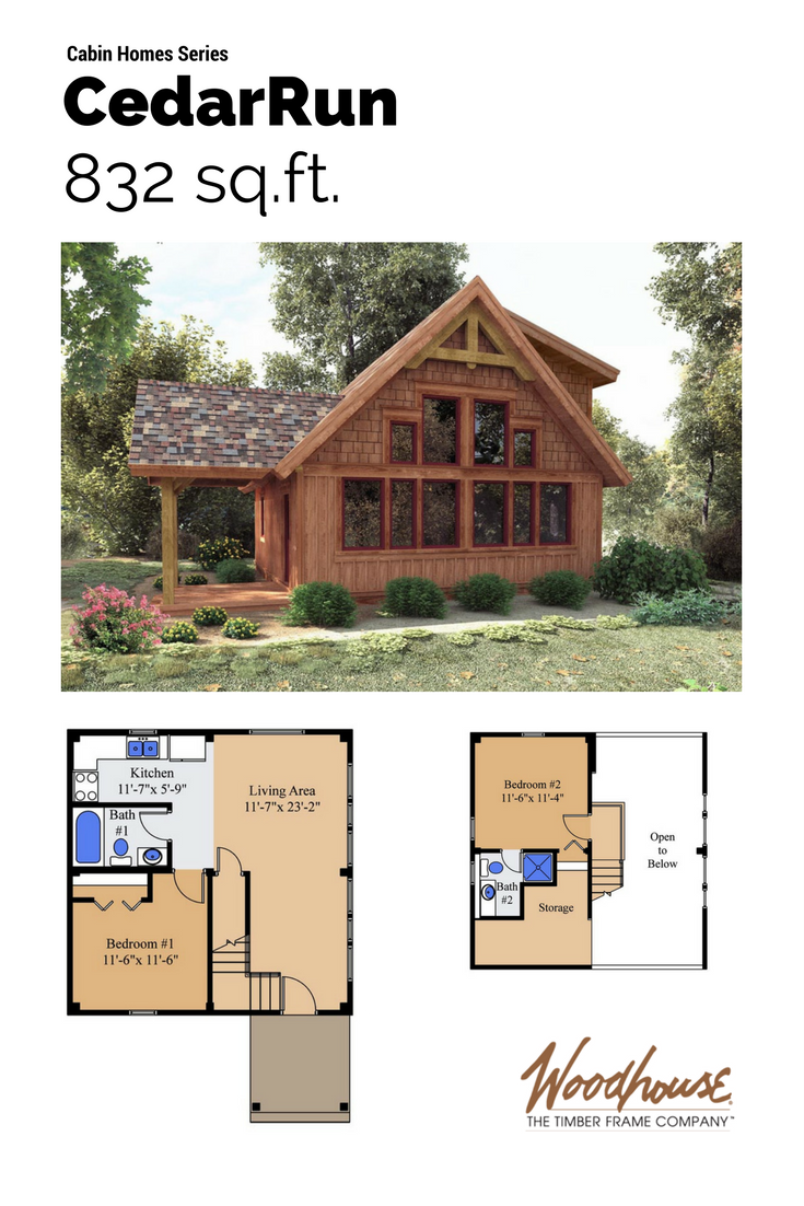 Cedarrun cabin floor plans sleeping loft and log cabins for Sleeping cabin plans