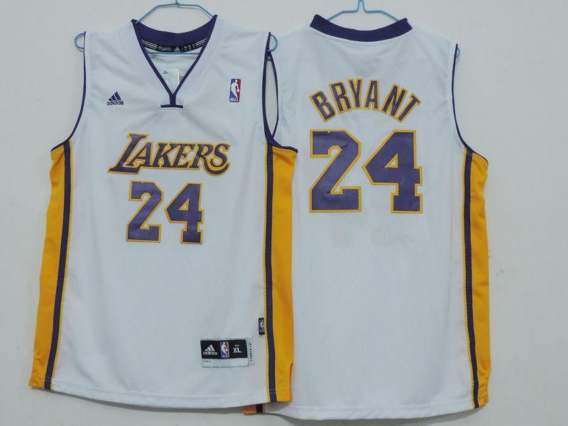 Los Angeles Lakers 24 Kobe Bryant Alternate White Jersey Kids ...