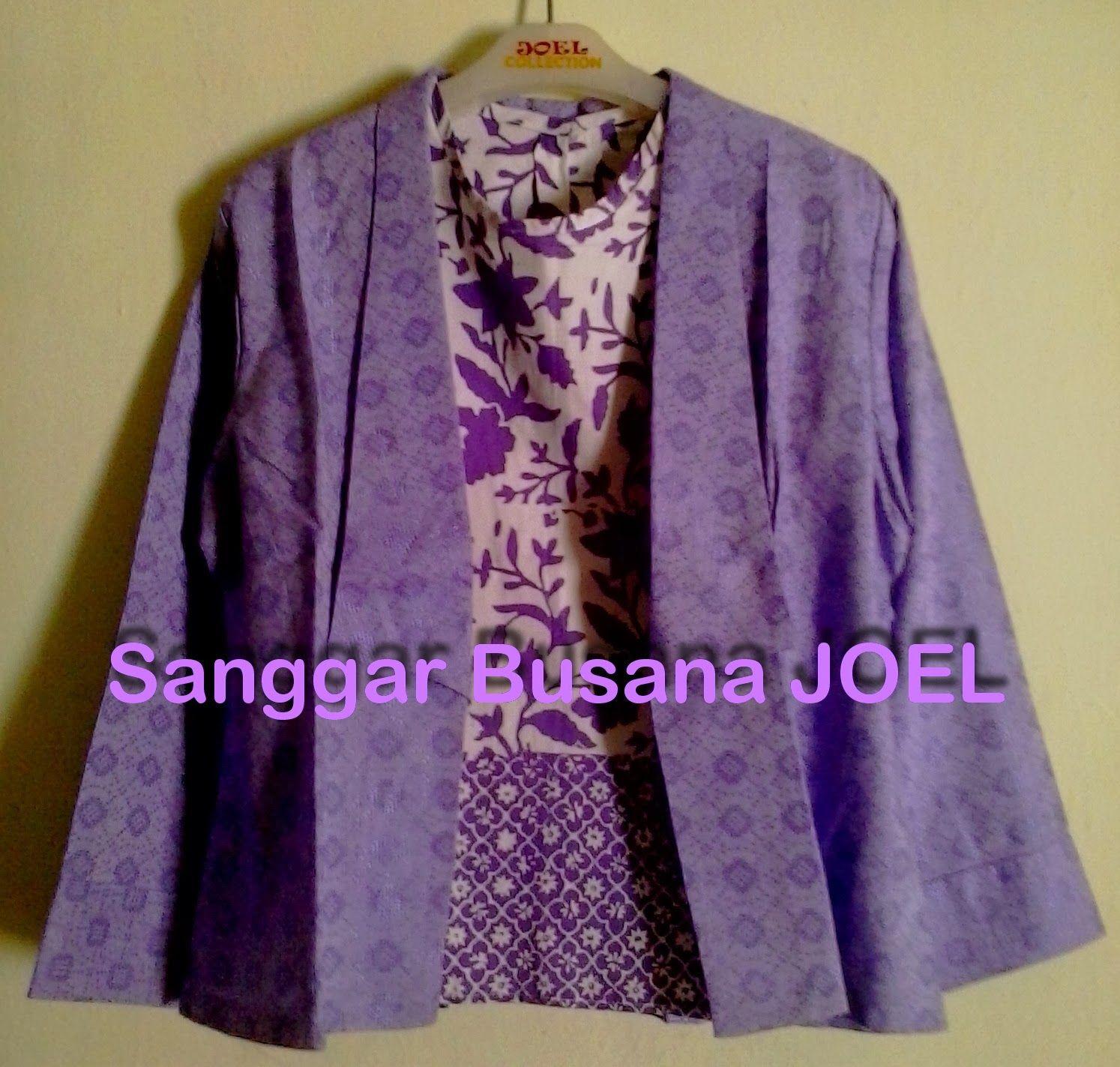 Semi Blazer Batik Embos Ungu Variasi Inner Ungu