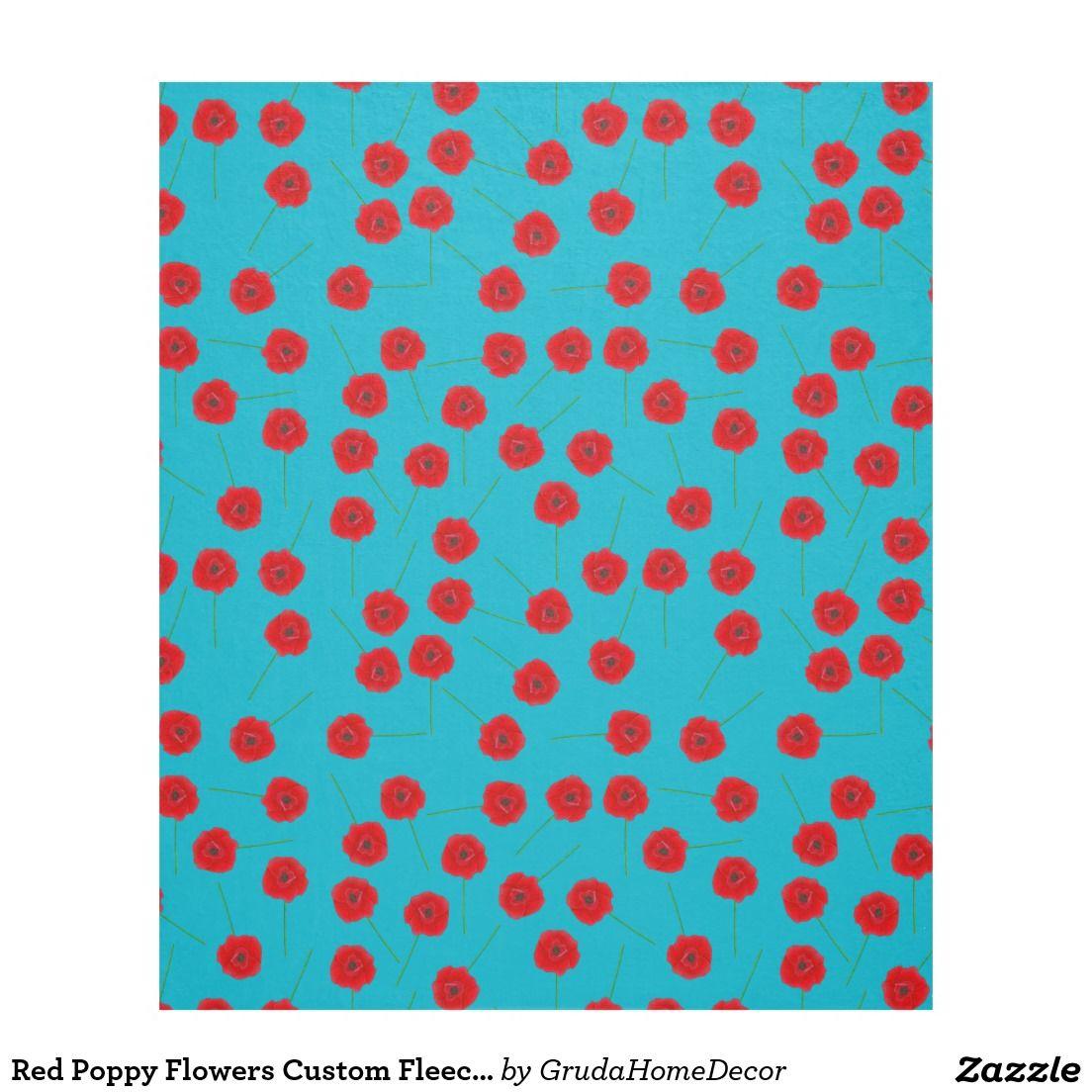 Red poppy flowers custom fleece blanket custom blankets