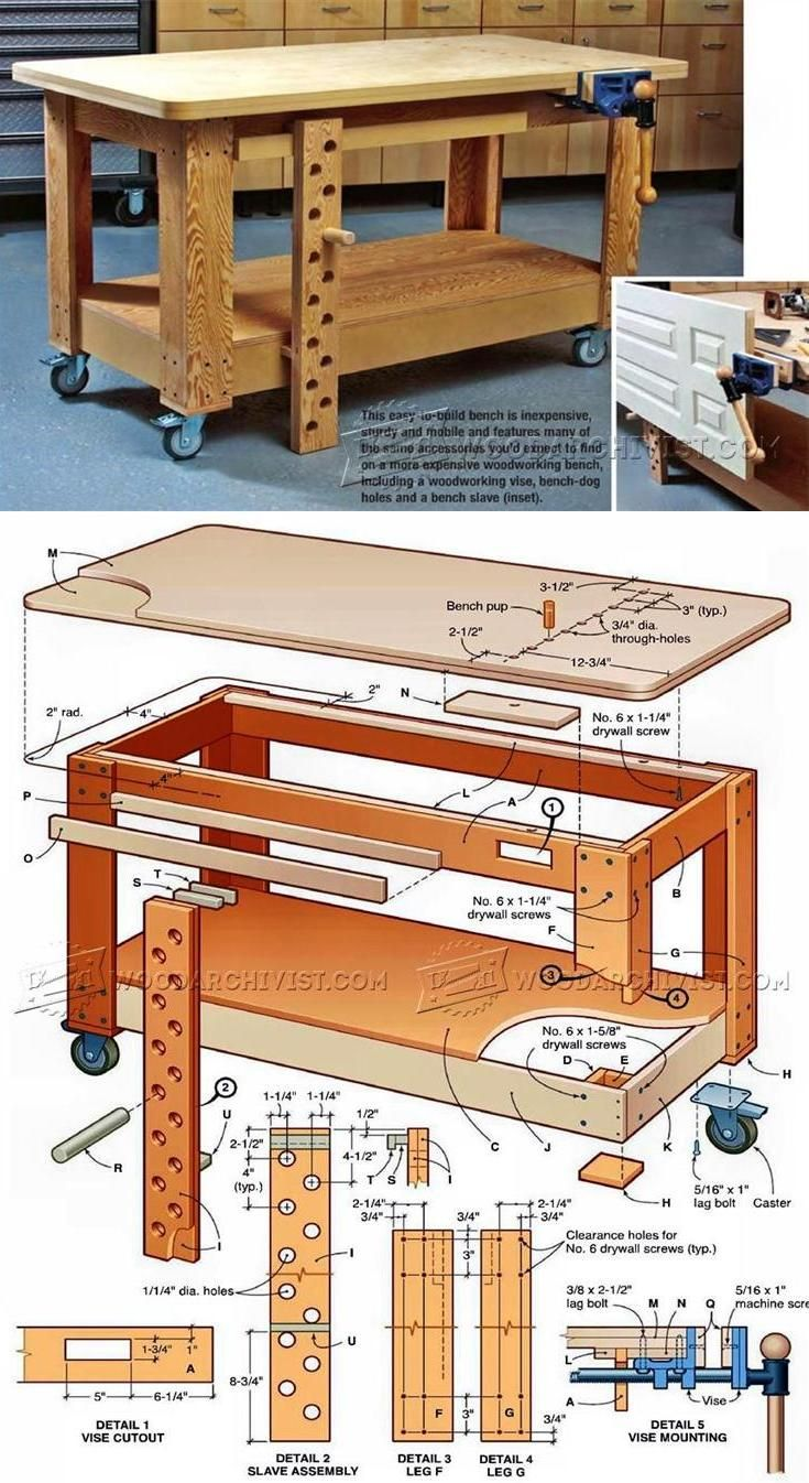 Mobile Workbench Plans | Carpintería, Carpinteria y Bancos de trabajo
