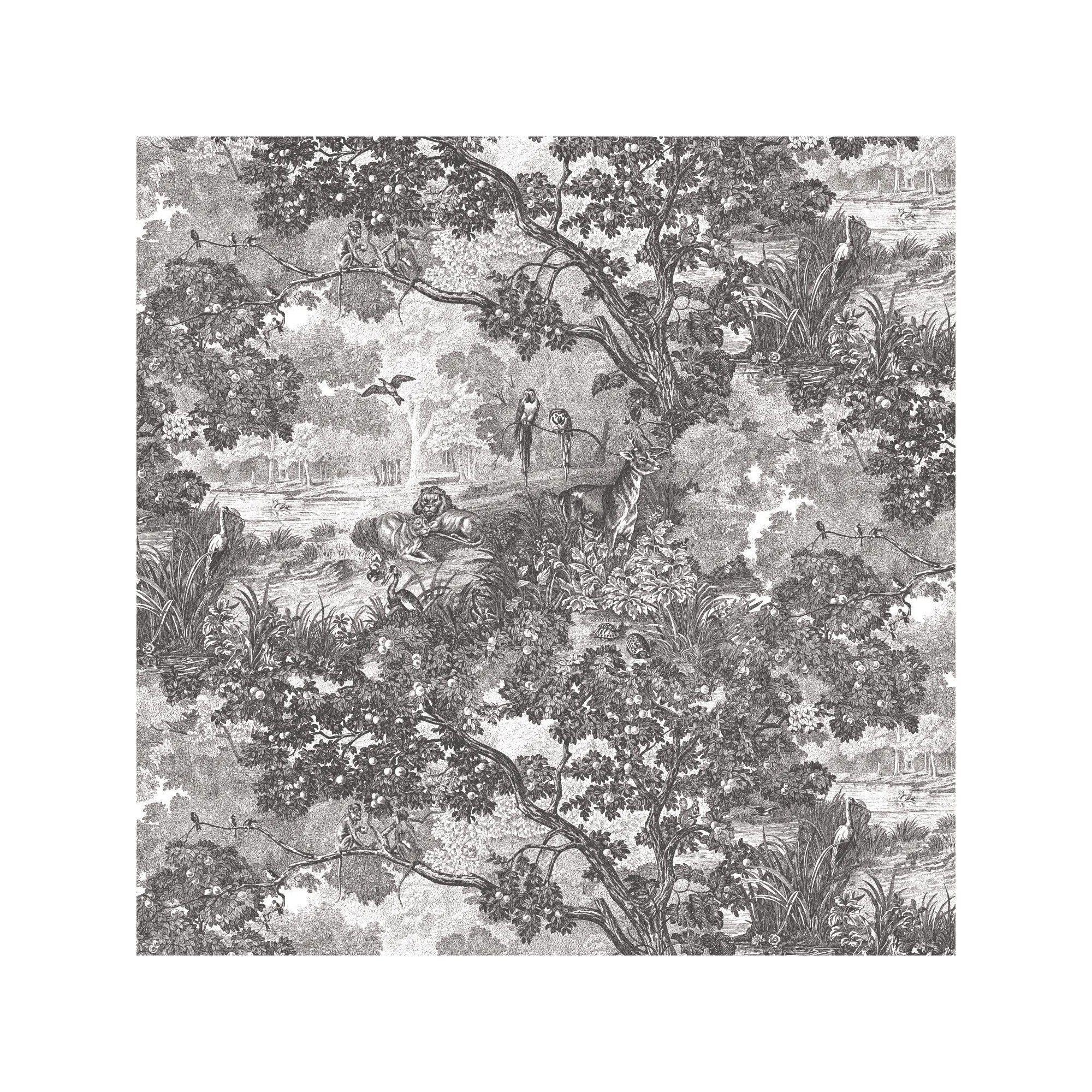 Roommates Jungle Toile Peel Stick Wallpaper Black White Peel And Stick Wallpaper Toile Wallpaper Wallpaper