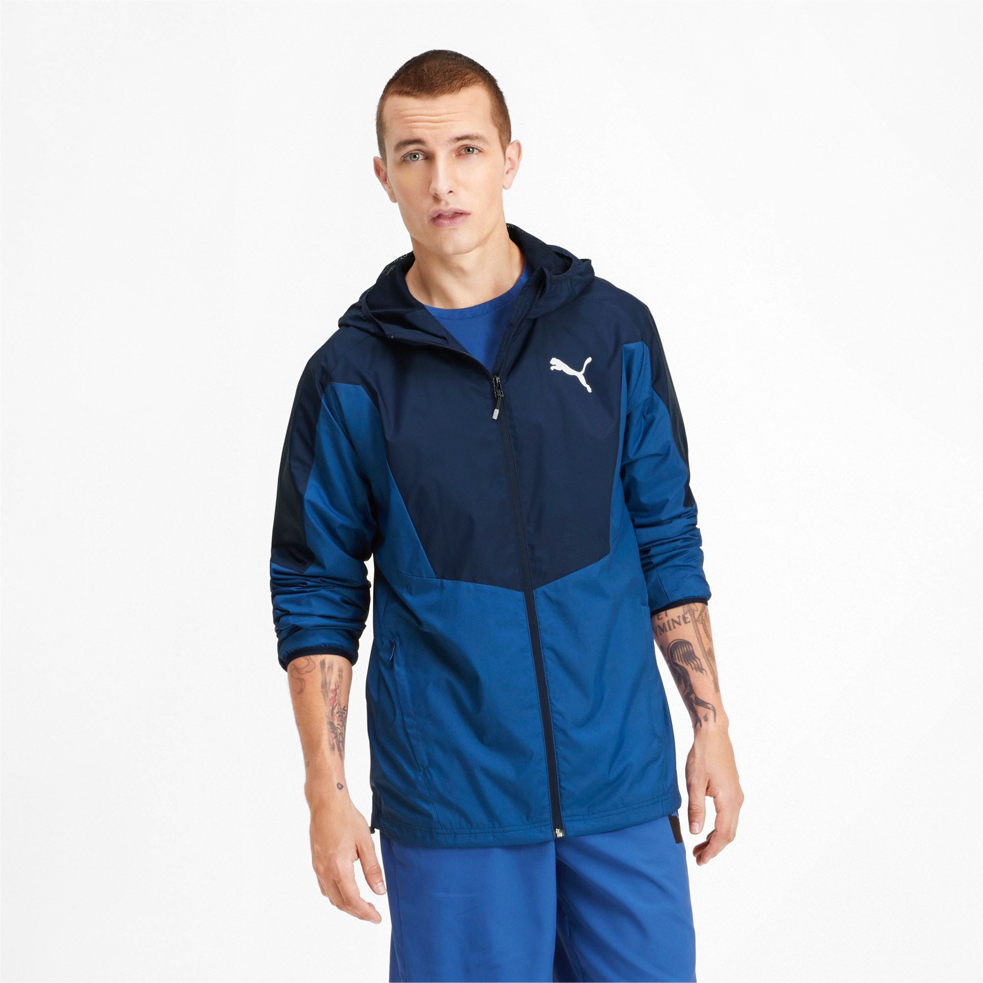 PUMA Active Sporty Men's Windbreaker Jacket in Galaxy Blue/Peacoat size 2X Large