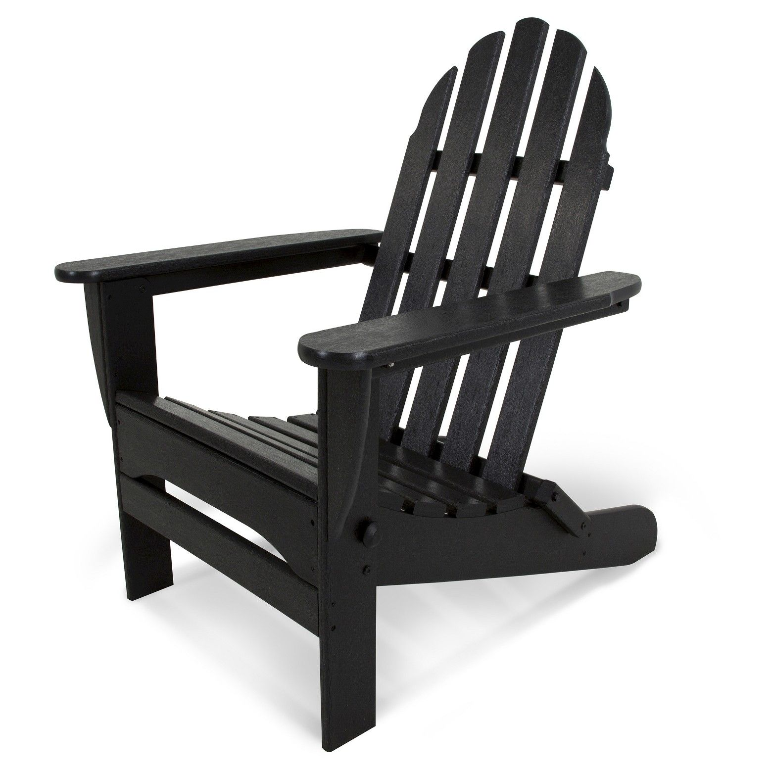 POLYWOOD Classic Folding Patio Adirondack Chair Black