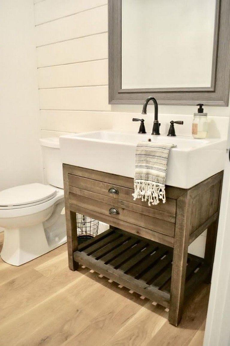 20 Elegant Bathroom Vanity With Farmhouse Sink Bathroomideas Bathroomdecor Bathroomremodel Farmhouse Bathroom Vanity