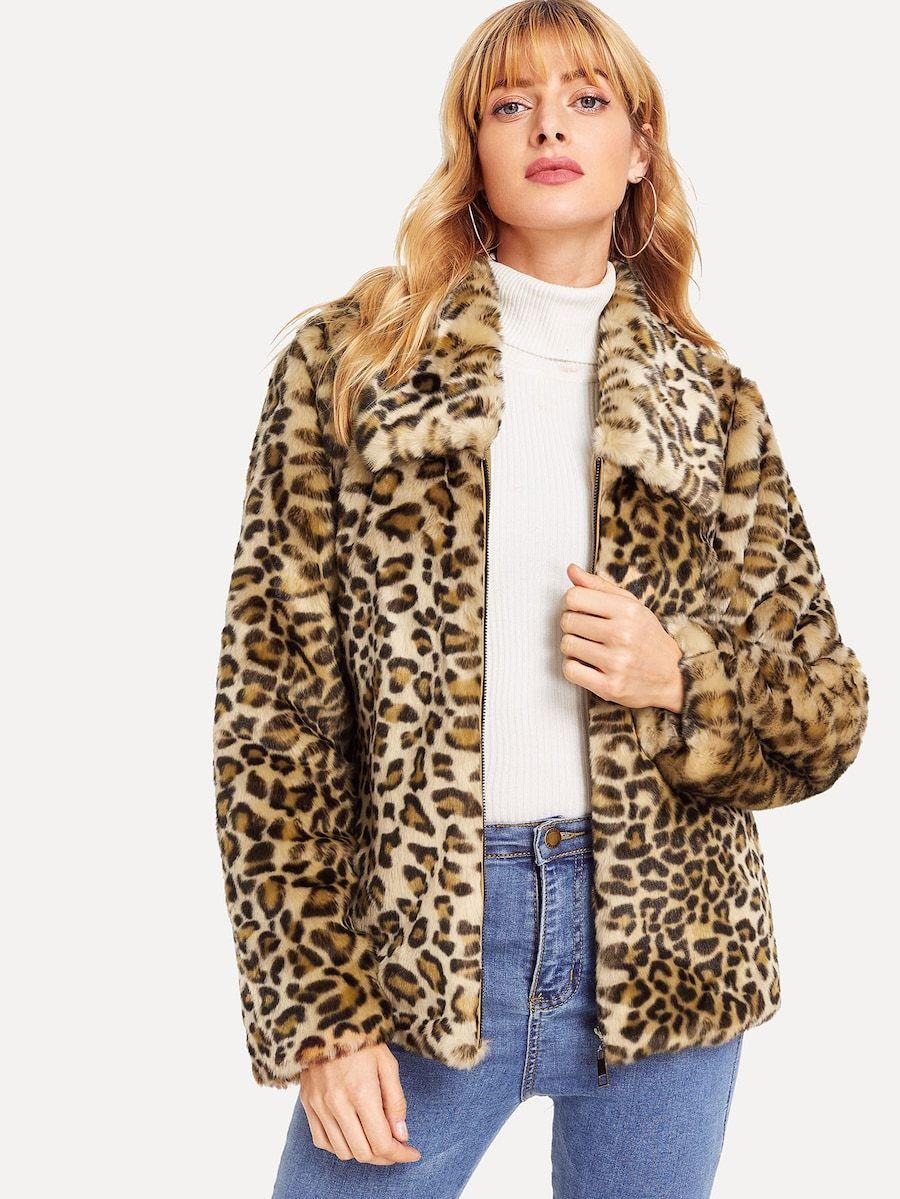 2b709a55ba5e Leopard Print Faux Fur Coat -SheIn(Sheinside) | 18! in 2019 | Coat ...