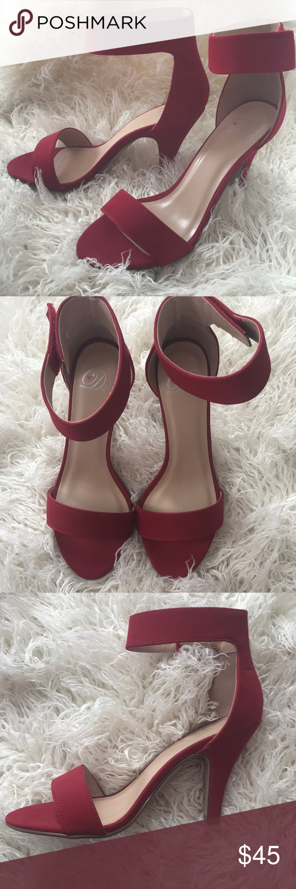 Red healed shoes👠 These shoes have a matte finish. 2 1/2 inch heal, open toe and a velcro angle strap. Beautiful shoes NEVER WORN! No scuffs! 7 1/2 ( true to size) Shoes Heels