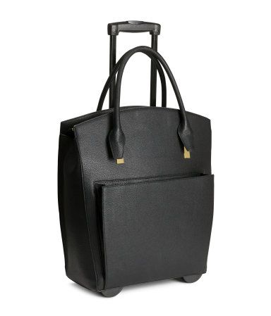 H&M Black Faux Leather Rolling Weekend Bag with Wheels Handbag ...
