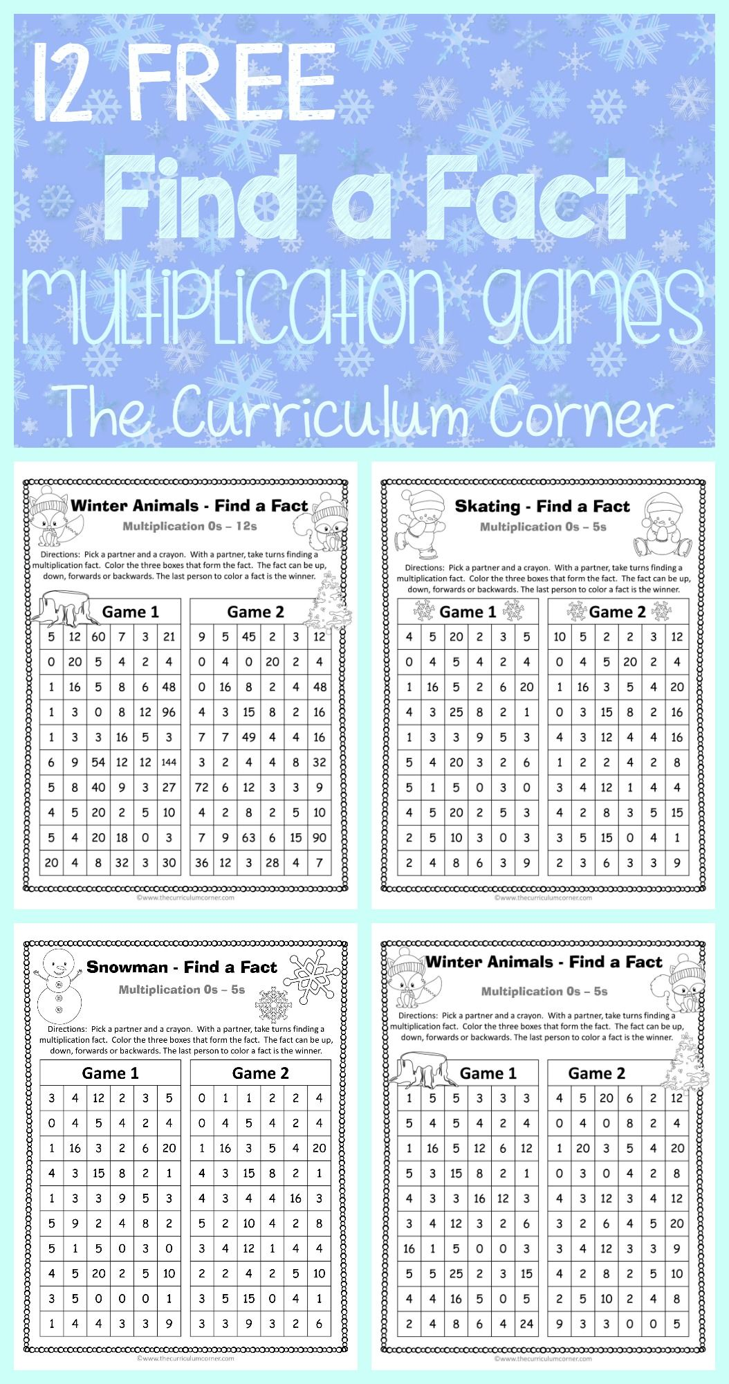 Winter Find A Fact Multiplication Games