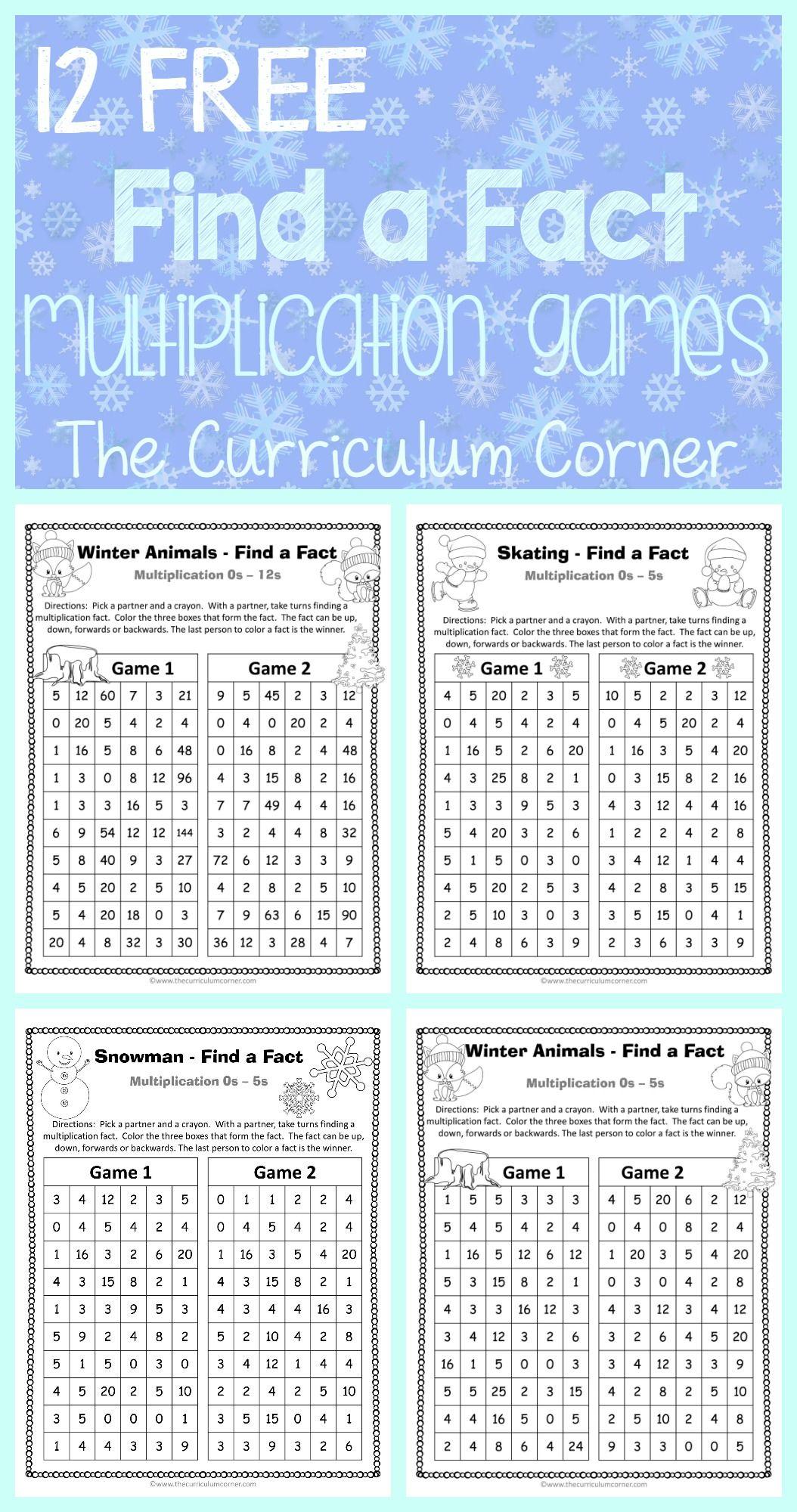Winter Find a Fact Multiplication Games | Math fact practice, Math ...
