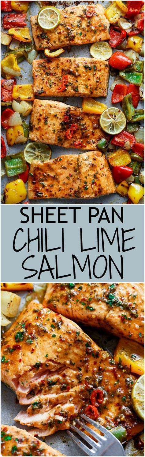 Sheet Pan Chili Lime Salmon with Fajita flavours, and a charred, crispy roasted trio of peppers for an easy and healthy weeknight meal!   cafedelites.com