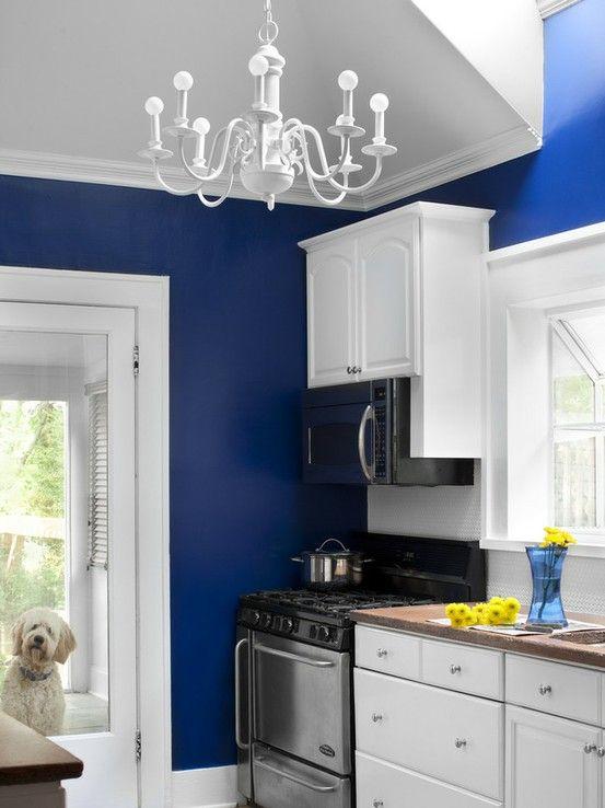 Cobalt Blue Walls In The Kitchen Small Kitchen Colors Small Kitchen Decor Paint For Kitchen Walls
