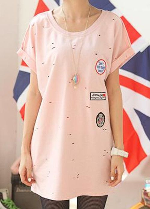 Pink Dot Cut Out Badge Loose Roll Short Sleeve T-shirt