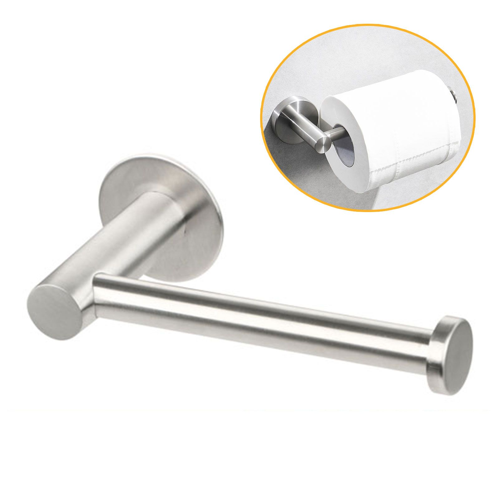 Eeekit Toilet Paper Holder Self Adhesive Bathroom Roll Holder Stick On Wall Mounted Stainless Steel Bathroom Tissue Paper Towel Roll Holder Bath Hardware Bath Toilet Paper Holder Paper Towel Holder
