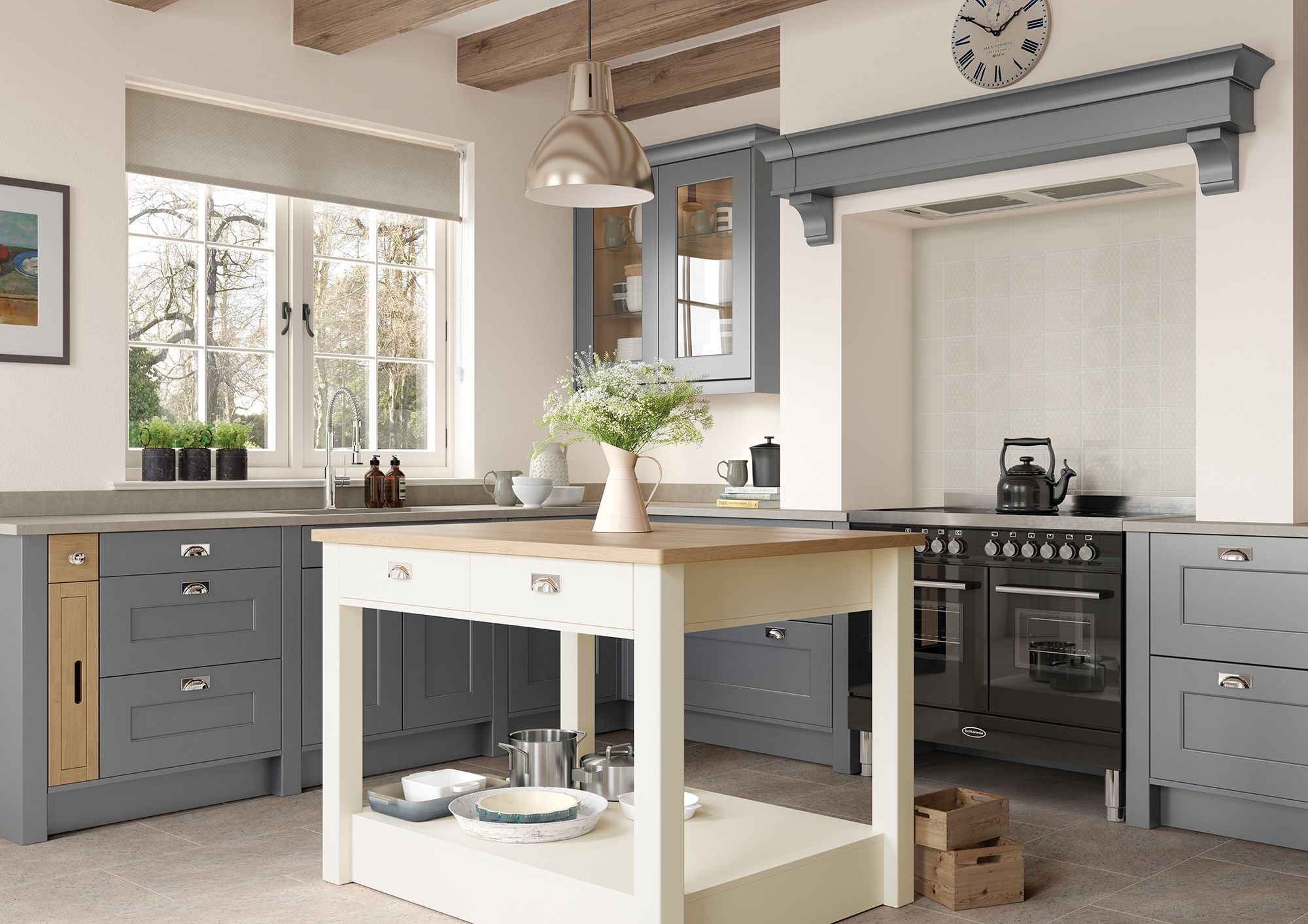 A Classic Shaker Style Kitchen With A Modern Twist Of Colour