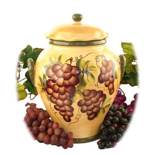 Tuscany Grape Fruit Wine Decor Cookie Jar Canister 1 Pc