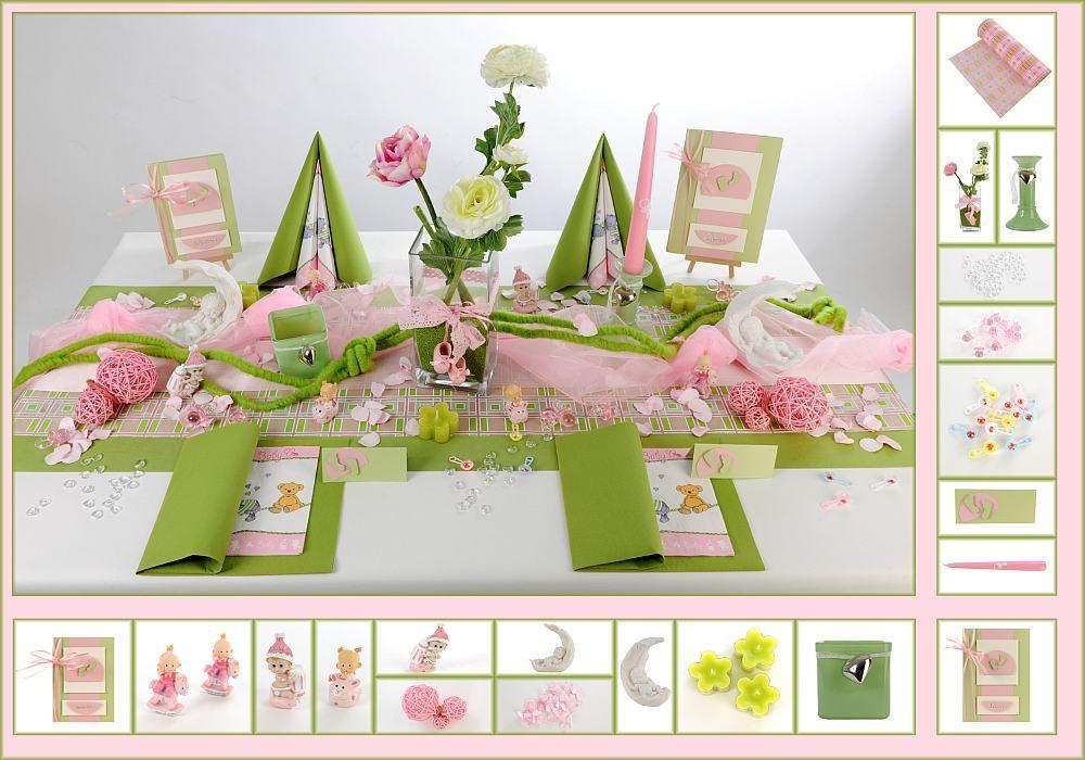 tischdeko taufe 9 in gr n rosa als mustertisch tafeldeko. Black Bedroom Furniture Sets. Home Design Ideas