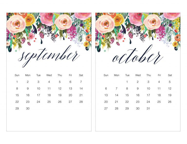 Free Printable 2019 Floral Calendar + Shopping List, To Do List, and