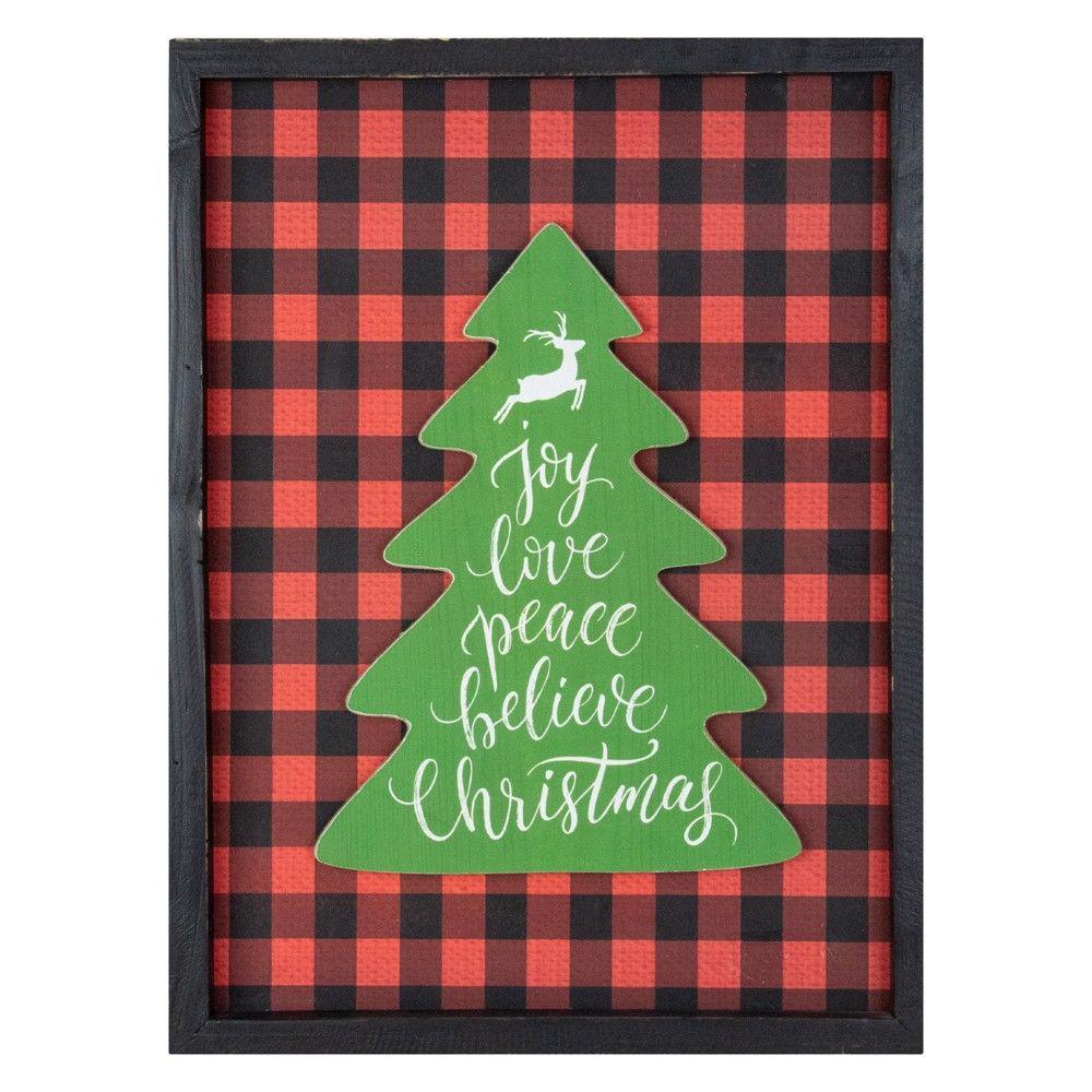 Northlight 16 Red And Black Buffalo Plaid Christmas Tree Shadow Box Wall Plaque Plaid Christmas Decor Plaid Christmas Tree Christmas Card Crafts