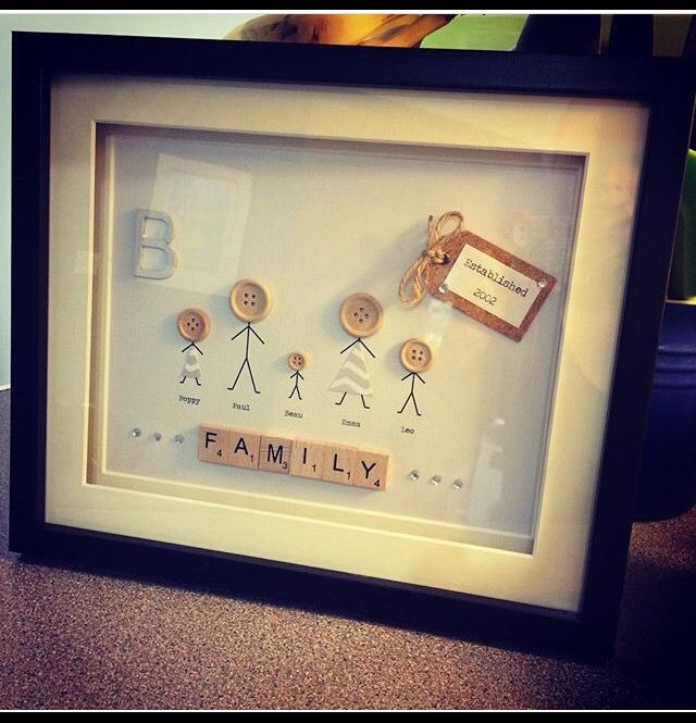 Scrabble Frame With Button Family 12 By 10 Box Frame Double Mounted In Black With Images Scrabble Frame Box Frames Family Frames
