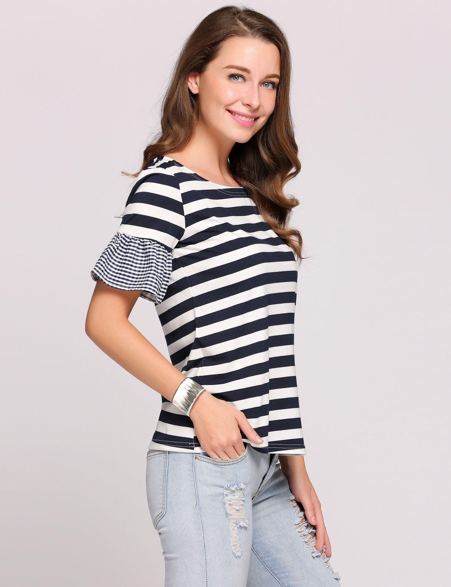 a00a3232f1b35 Black Striped Sleeve Ruffle T-shirts   TEE   Black stripes, Shirts ...