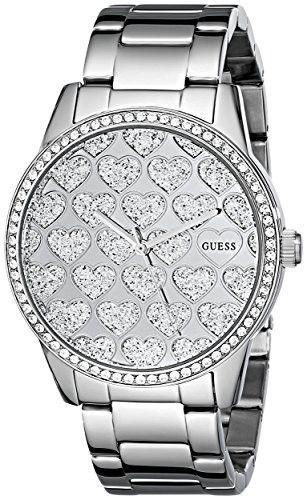 GUESS Women s U0536L2 Silver-Tone Watch with Glitzy Heart Dial ... 16f8d412e6d