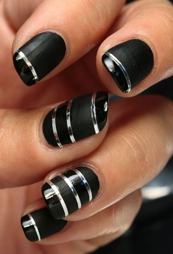 ... Design ~ tape nail art. black with sliver lines random - 40 Classy Black Nail Art Designs For Hot Women Nail Polish/Nail